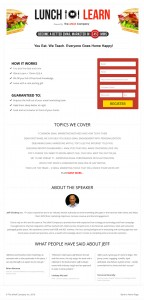 Lunch and Learn Landing page
